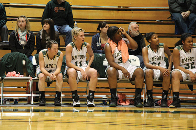 The Riverhawk bench watched the game intently, anticipating the outcome.