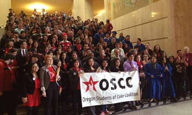 Oregon Students of Color Coalition met at the capitol.