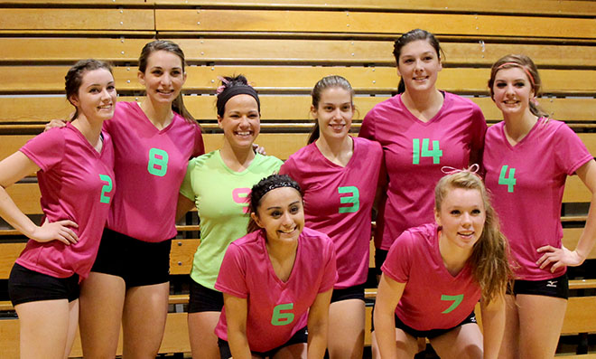 Back row from left to right: Cierra Cotton, Kelsey Warren, Elysha Lang, Danae Perkey, Mariah Gladden, Kathryn Epler. Front row from left to right: Jocelyn Valencia, Katelyn Knight
