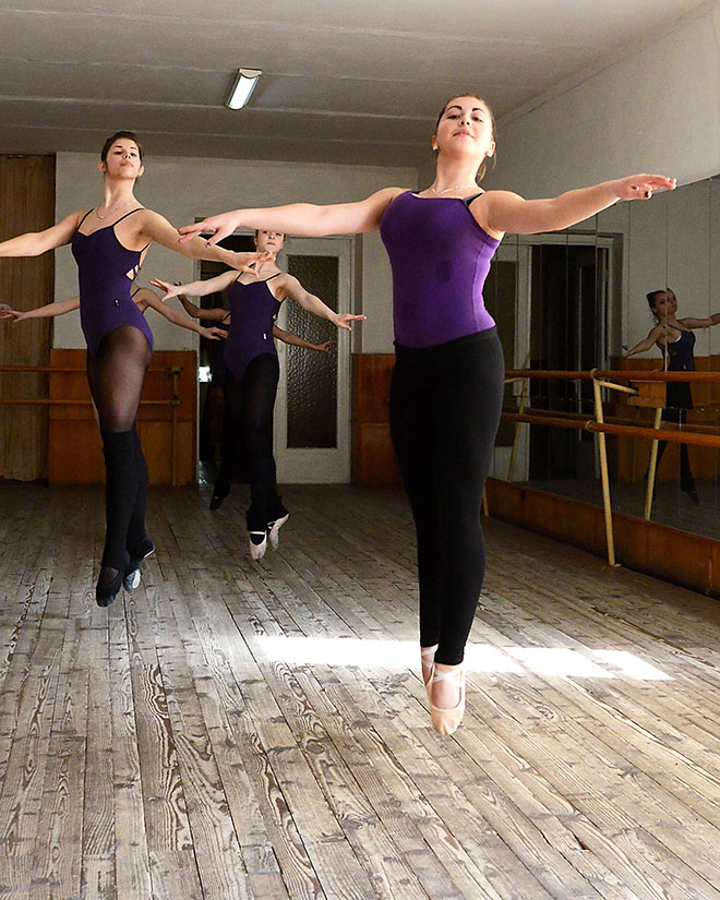 While visiting Ukraine, Rochester observed a traditional ballet class. Dancers attend rigorous practices 20 to 30 hours a week as they strive for perfection.