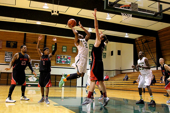 While hosting the Saints at home, the Riverhawks men's team played a physical, fast-paced game. Mishima Gray, Gary Stewart, Tormall Thomas and Nick Corpening were often seen soaring through the air.