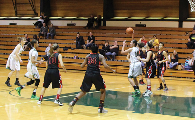 The 'Hawks used their size inside against Mt. Hood during  their game on Jan. 25. UCC utilized their Forwards, Pilialoha Kailiawa (pictured with ball), Marcy Ortiz, Ashli Payne, Leilani Morris, Asia Smith, and Kayla Bice, grabbing 36 of the 54 team rebounds.