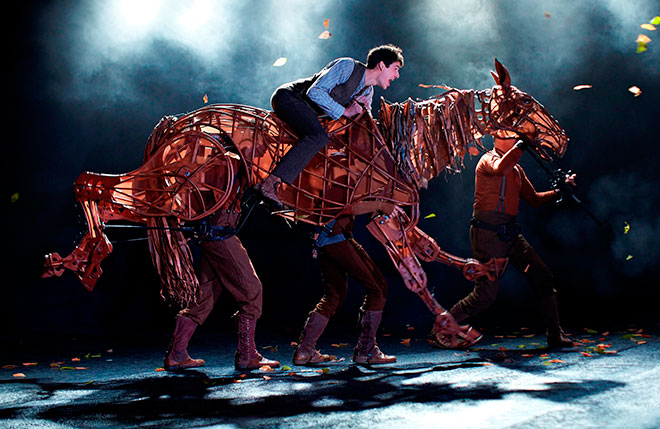 The puppets in War Horse are engineered to emulate realistic movements.