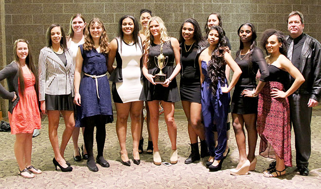 The Riverhawks dressed up for the NWAACC awards banquet Friday night, Feb. 28, preceeding the four-day tournament.